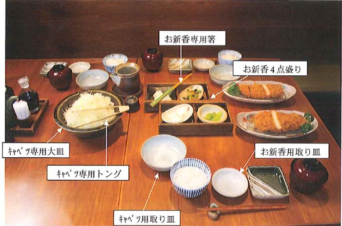 再使用していたのは、メイン料理のとんかつを提供する前に提供していた食材... 和幸商事/お新香、