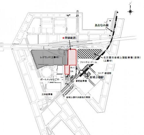 金城中央緑地閉鎖範囲(赤囲みエリア)
