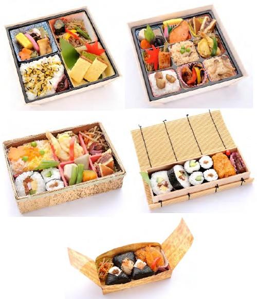 販売する駅弁5種類「パリ・リヨン弁当、幕の内折詰弁当、日本のおもてなし弁当、助六寿司、おにぎり弁当」