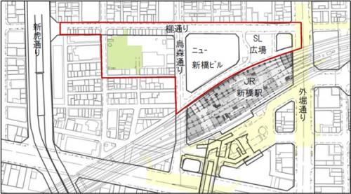 新橋駅西口地区市街地再開発事業 検討区域