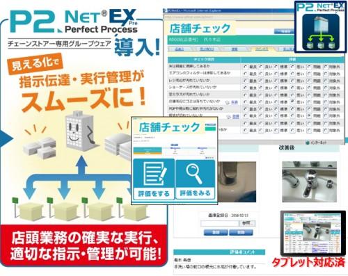 P2NetEX 本部店舗 情報共有ツール 店舗チェックイメージ