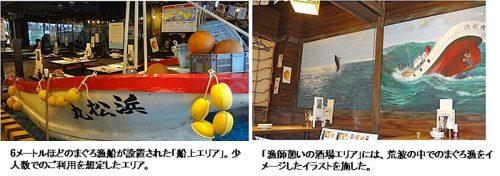 店内に漁船も展示