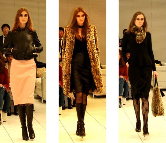 (左)メンズライクなライダースにタイトスカート、イミテーションファーを使ったコート、イミテーションファーを使ったバッグ、スカーフ
