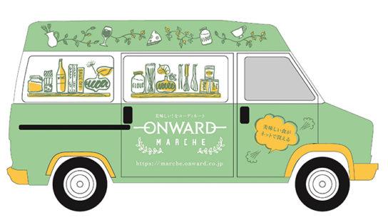 オリジナルキッチンカー「オンワード・マルシェカー」を配置