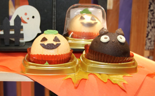 チョコクリームとえびすかぼちゃケーキ、黒猫チョコケーキ