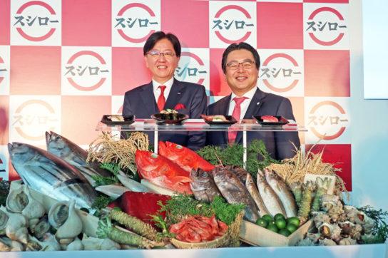 水留社長(右)と野本会長(左)