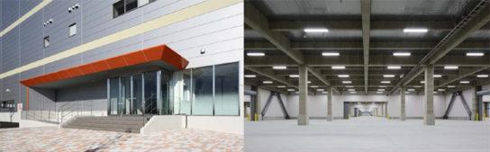 (左)南側エントランス(※集合場所及び受付)、(右)倉庫