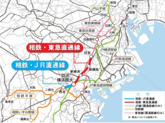 神奈川東部方面線(相鉄・JR直通線、相鉄・東急直通線)完成路線図