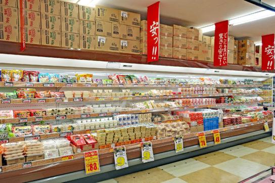 豆腐、納豆などの和日配コーナー