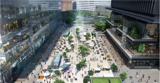 全体開業時の大規模広場イメージパース/東京駅日本橋口側から