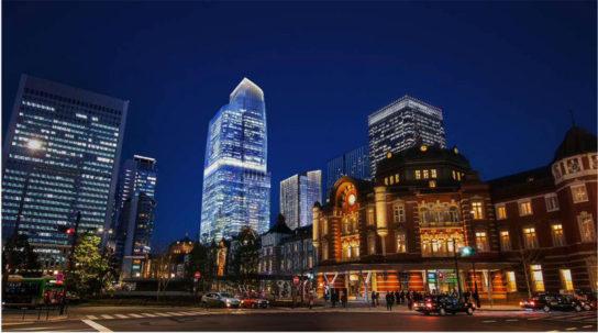 全体開業時の街区全体イメージパース/東京駅丸の内側から