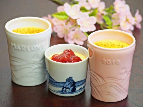 マーロウ 紅白陶器入りプリンと国産いちごブリュレプリン