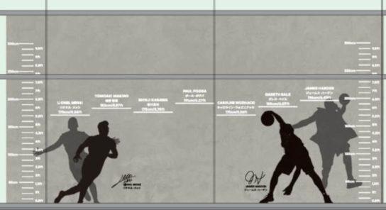 アディダス契約アスリートと身長を比較出来るグラフィックボード