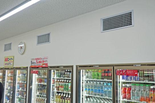 店内を正圧化する空調