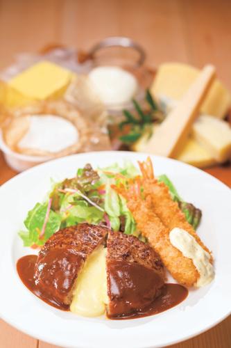 チーズ IN ハンバーグ&海老フライ