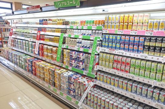 スーパーのビール類売場
