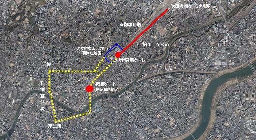 黄色線:従来ルート、赤線:新ルート