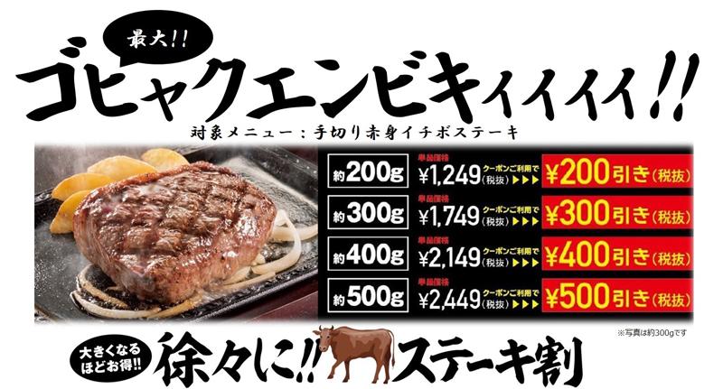 20181004gast1 - ステーキガスト/最大500円引き「徐々に!!ステーキ割」キャンペーン