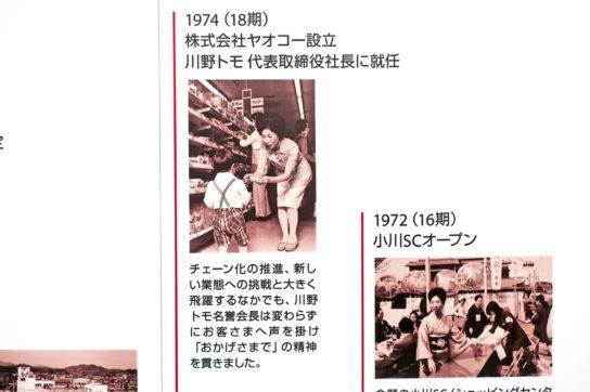 1974年ヤオコー設立川野トモ氏社長に就任