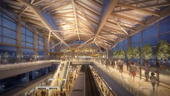 駅舎内イメージ図:大屋根を照らし柔らかな光に包まれたコンコース