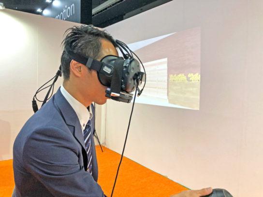 VRヘッドセットの装着イメージ