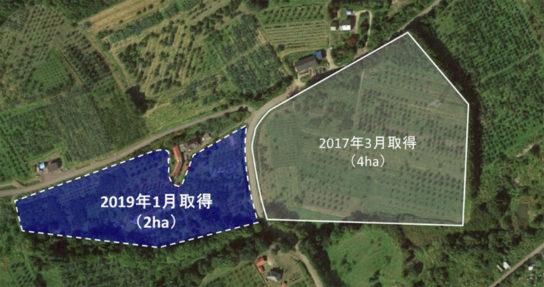 余市町自社畑所在地の航空写真