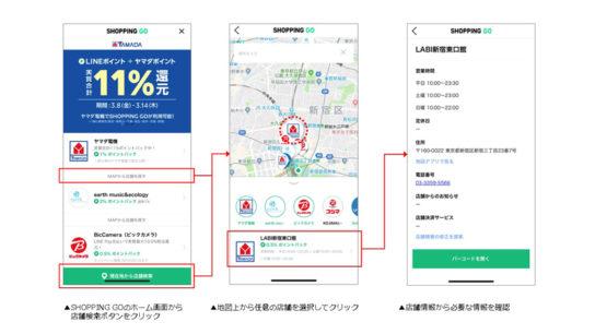 「地図情報・店舗リスト」の機能もバージョンアップ