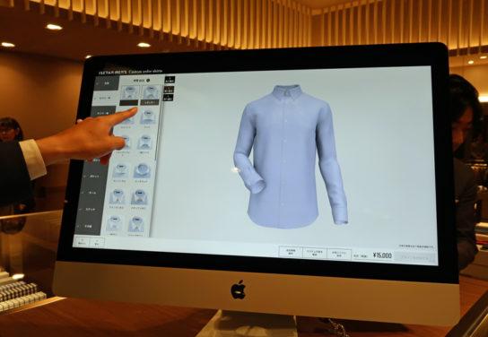 タブレット端末を使いシャツをオーダー