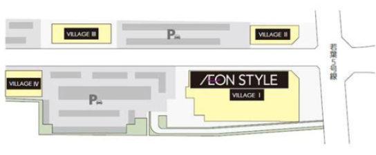 4棟で構成される商業施設