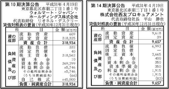 ウォルマート・ジャパンHDと西友プロキュアメントの決算公告