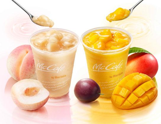 桃のスムージー、マンゴー