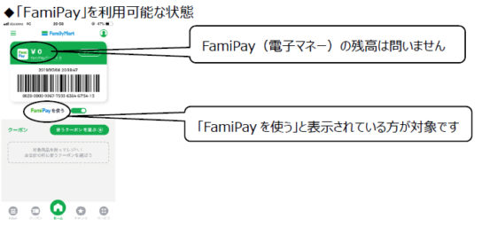 「FamiPayボーナス」180円分進呈対象