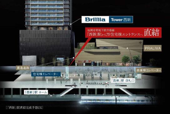 「西新」駅直結「Brillia Tower 西新」に併設する商業施設