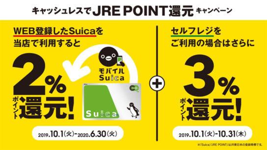 WEB登録したSuicaで最大5%のJRE POINT還元キャンペーン