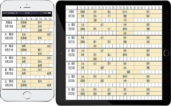 シフト表のイメージ