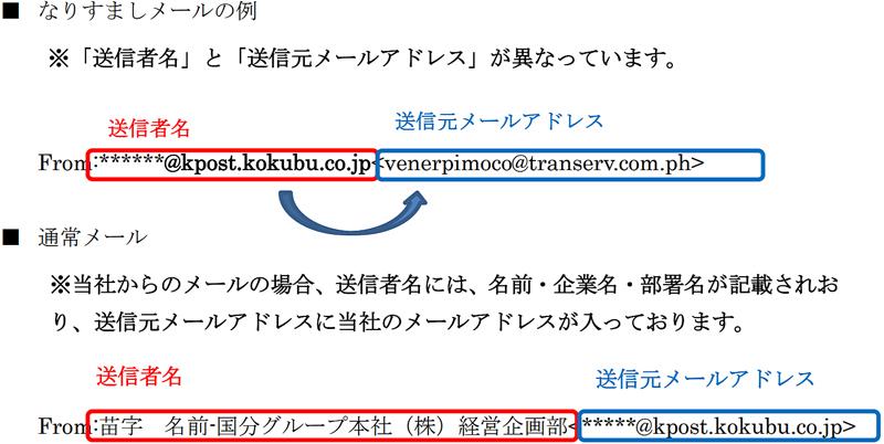 20191118mail - 日本アクセス、国分/なりすましメールで注意喚起
