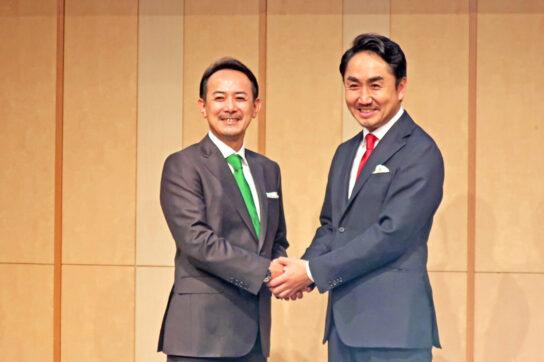 川邊社長CEO(左)と出澤社長CEO(右)
