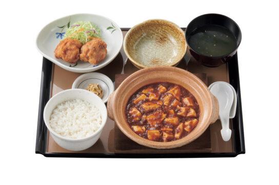 四川麻婆豆腐とから揚げの定食