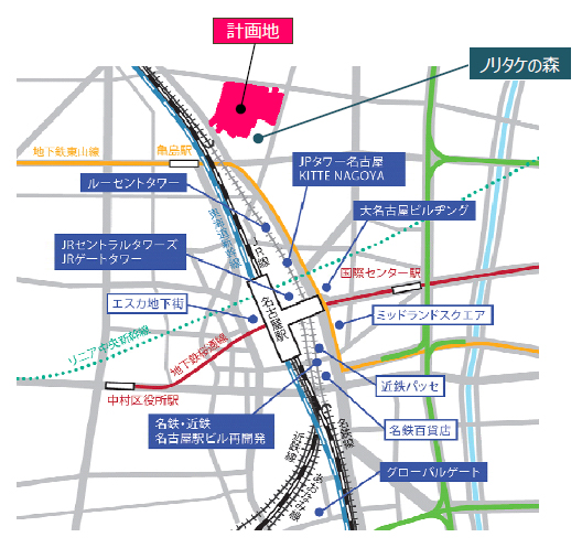 名古屋駅北東1kmに位置