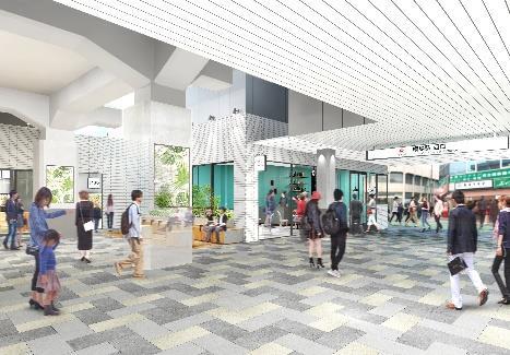 駅と商業施設一体的な空間に刷新