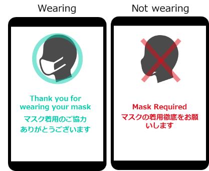 マスク着用の有無を人物検知カメラで判定