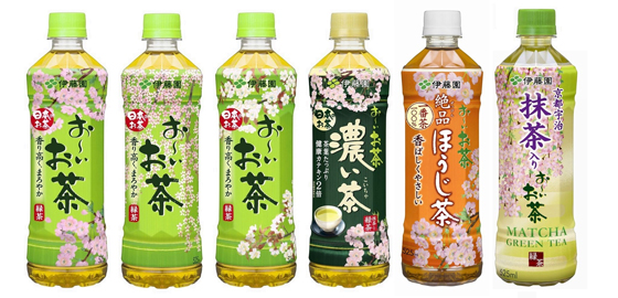 桜をパッケージにデザインした「お~いお茶」シリーズ