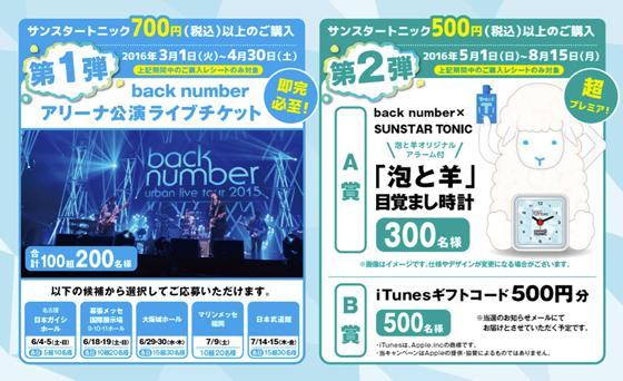 back number×SUNSTAR TONIC爽快コラボキャンペーン2016