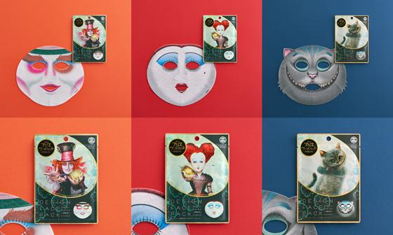 マッドハッター、赤の女王、チェシャ猫デザインのフェイスパック