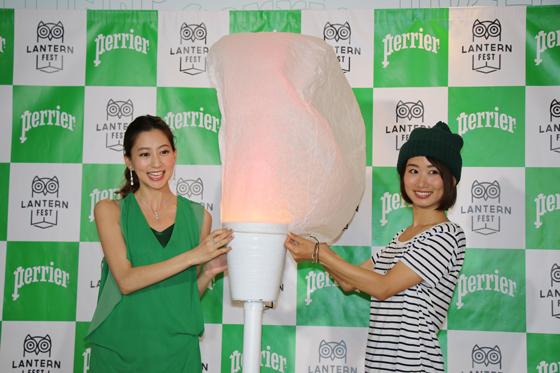 河北麻友子さんと詩歩さんが「The Lantern Fest」オリジナルランタンに点灯