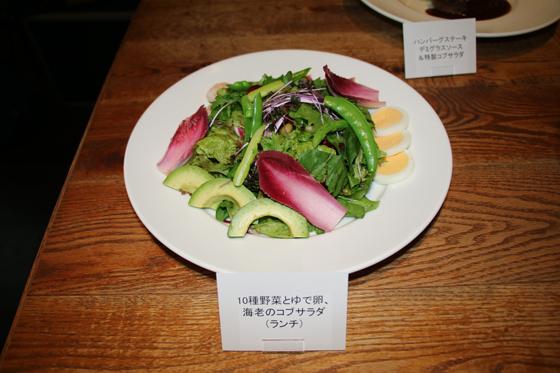 10種野菜とゆで卵、海老のコブサラダ