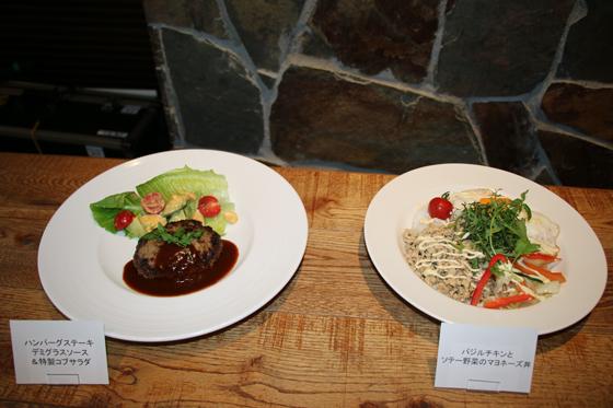 バジルチキンとソテー野菜のマヨネーズ丼、ハンバーグステーキデミグラスソース