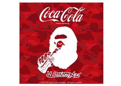 「COCA-COLA」ロゴがBAPE CAMOと融合したオリジナルのカモフラージュ柄