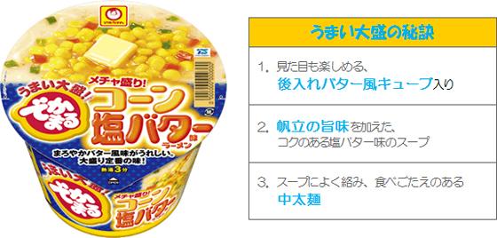 20161024toyo1 - 東洋水産/季節限定「でかまる メチャ盛り!コーン塩バター味ラーメン」