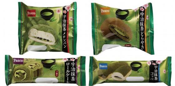 宇治抹茶を使った菓子パン4種